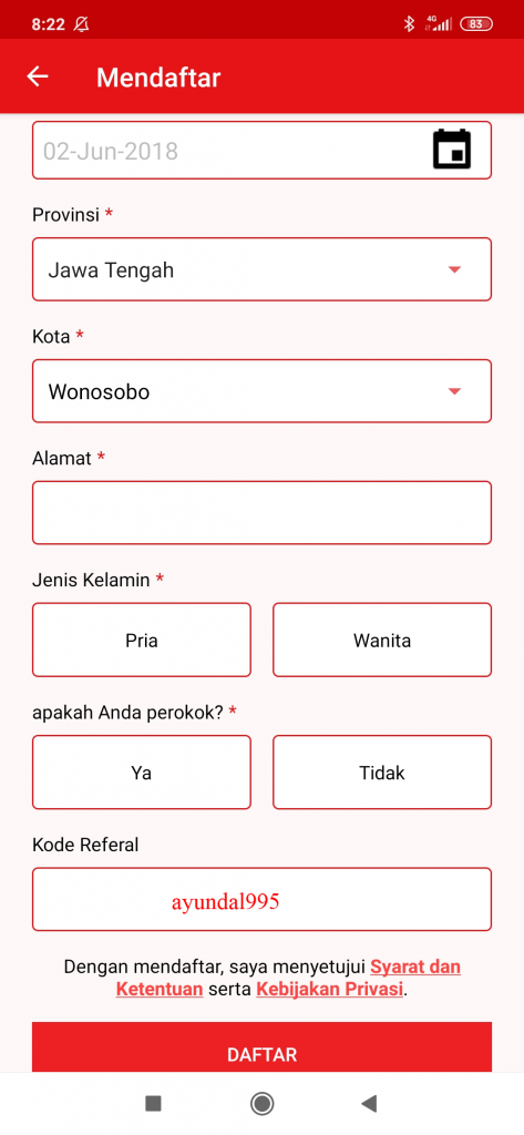 kode referal dealio apk