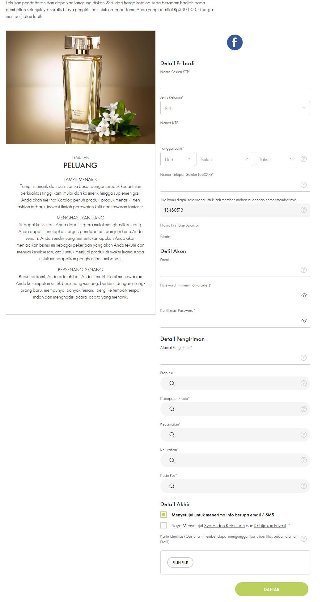 cara daftar oriflame sendiri secara online 2020.